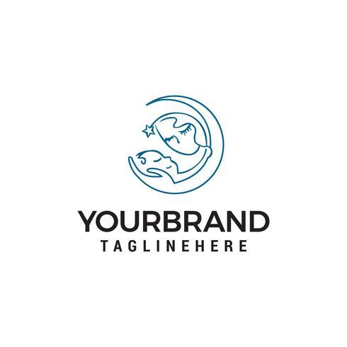Vetor de modelo mãe bebê cuidados logotipo design conceito