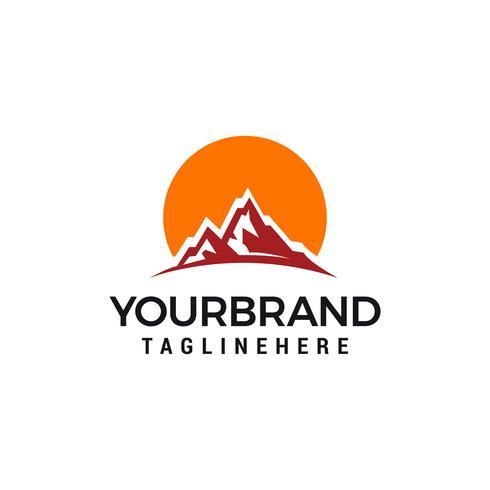 Projeto de ilustração vetorial sol modelo de logotipo de montanha vetor