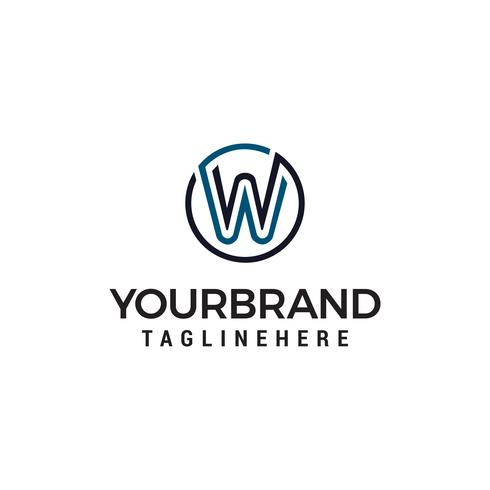 Logotipo da letra W, modelo de desenhos de símbolo de forma de círculo vetor