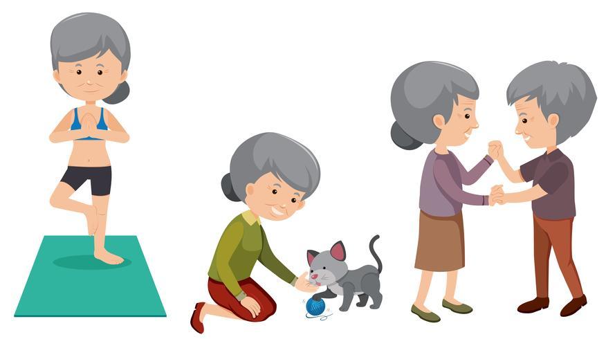 Conjunto de pessoas idosas fazendo atividades vetor