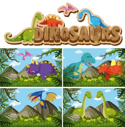 Diferentes tipos de dinossauros na selva vetor