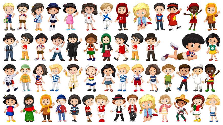 Conjunto de crianças multiculturais vetor
