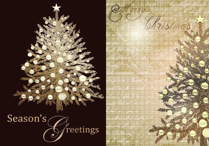 Pacote de vetor de saudação de árvore de Natal vintage