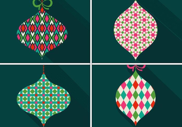 Retro Patterned Christmas Ornament Vetores