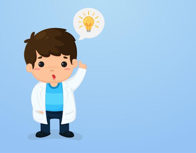 Caráter bonito dos miúdos em um terno do cientista Apontando acima o céu Meios de ensino da ciência. vetor