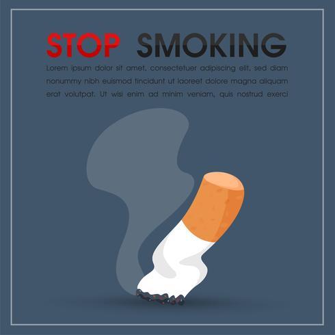 Queima de cigarros e fumaça. pare de fumar ilustração vetorial. vetor