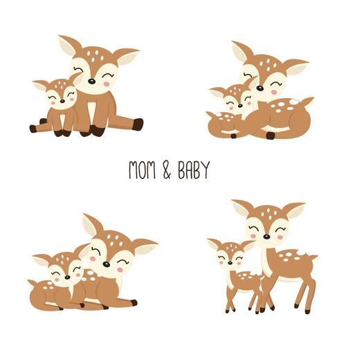 Família de cervos bonito dos desenhos animados. Mãe e bebê. vetor