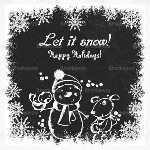 Chalk desenhado feriado boneco de neve de fundo Vector