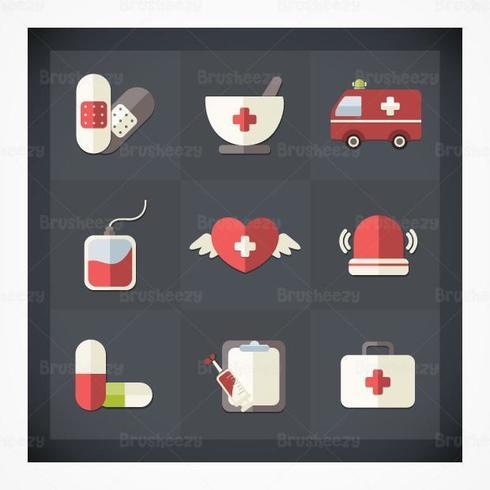 Pacote de vetores de ícones médicos planos