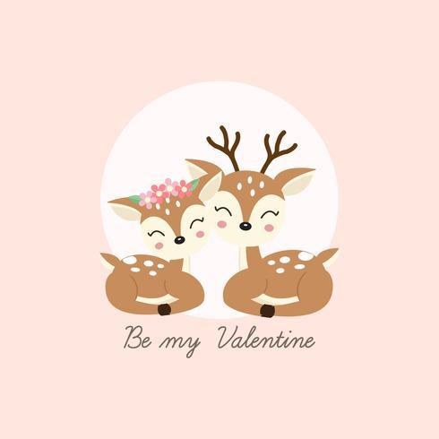 Feliz dia dos namorados cartão de saudação. Os cervos do par caem no amor. vetor