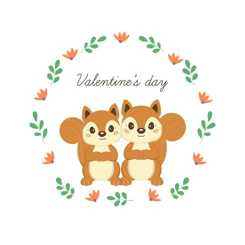 Feliz dia dos namorados cartão com esquilos bonitos no amor. vetor