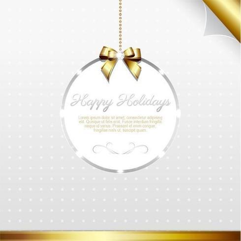 Vetor de cartão de férias de prata e ouro