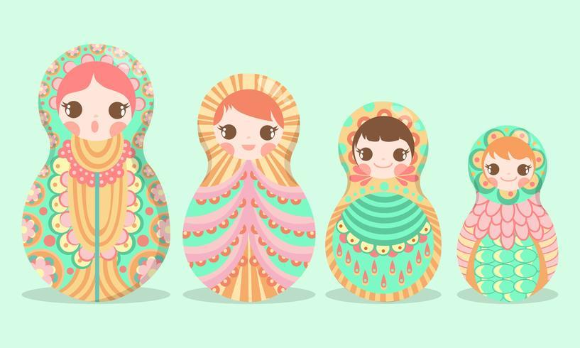 Boneca de arte russa Matryoshka russo - ilustração vetorial - vetor
