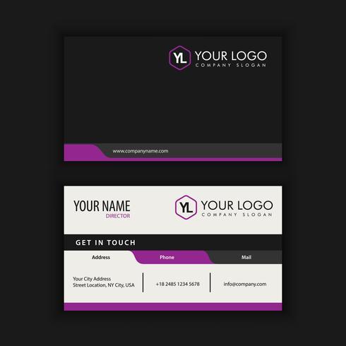 Modelo de cartão moderno criativo e limpo com cor preta roxa vetor