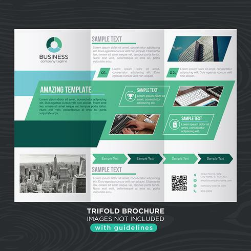 Brochura de dobras de negócios com três dobras verde vetor