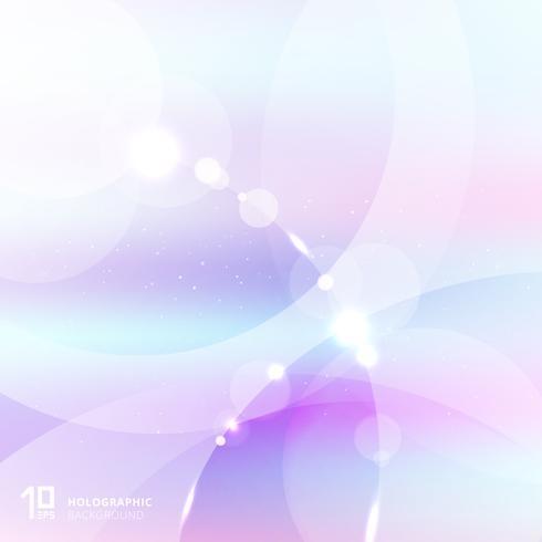 Cor pastel abstrata do inclinação com folha de prova branca e cinzenta dos círculos e de iluminação. Fundo holográfico. vetor