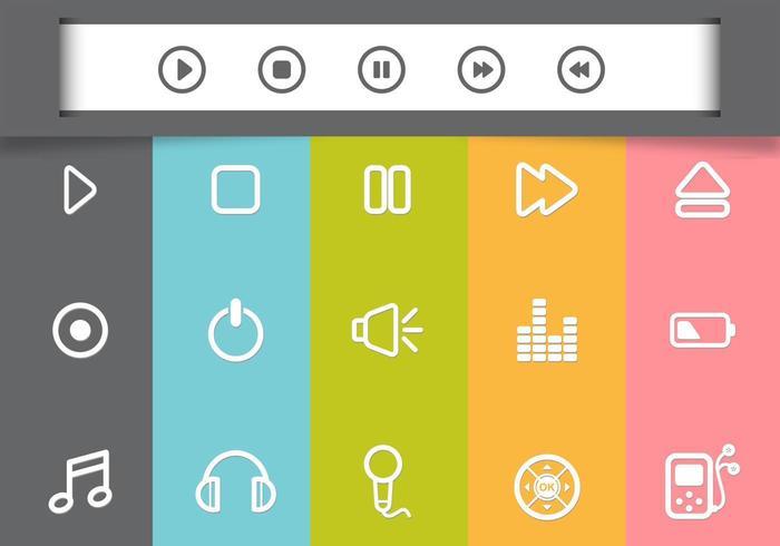 Pacote de ícones do vetor do Media Player