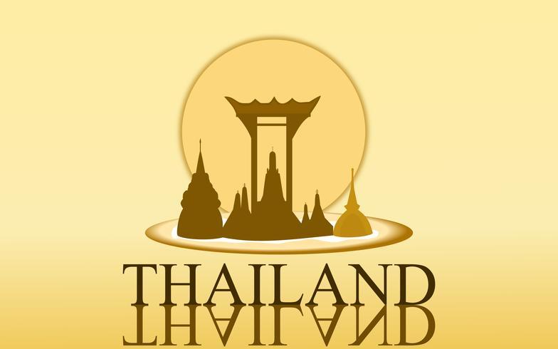 Projeto surpreendente da cor do ouro do templo do arun do wat do turismo de Tailândia para o vetor da bandeira. Ilustração gráfica do sinal da arte tailandesa.