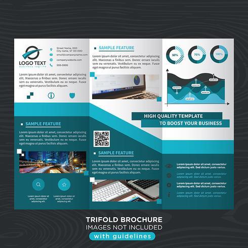 Folheto de dobras de negócios com três dobras azuis vetor