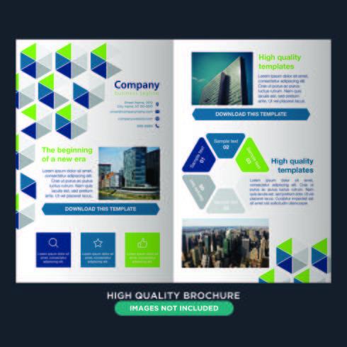 Folheto de dobra de negócios geométricos coloridos vetor