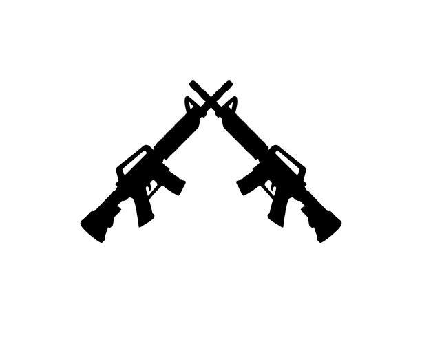 Arma silhueta vector cor preta