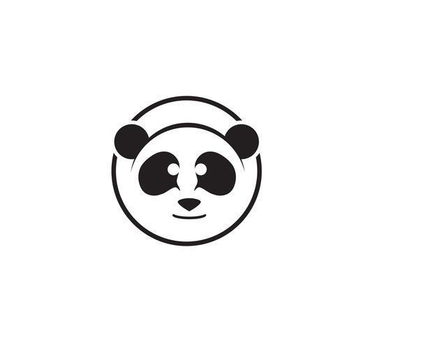 panda logo cabeça preto e branco vetor