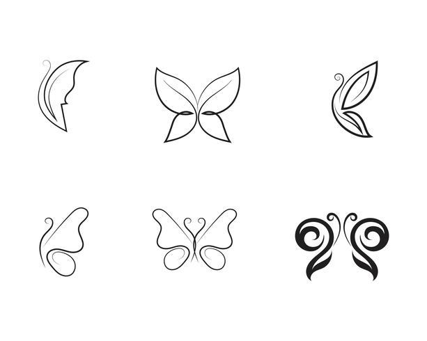 Design de ícone de borboleta de beleza vetor
