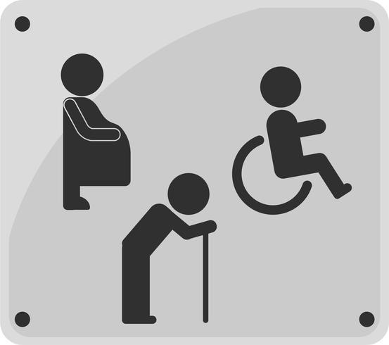 Ícone de sinal de WC. pessoa com deficiência, mulher grávida e homem velho. vetor