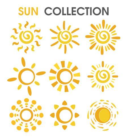 O sol dos desenhos animados coloridos em um formato simples. vetor