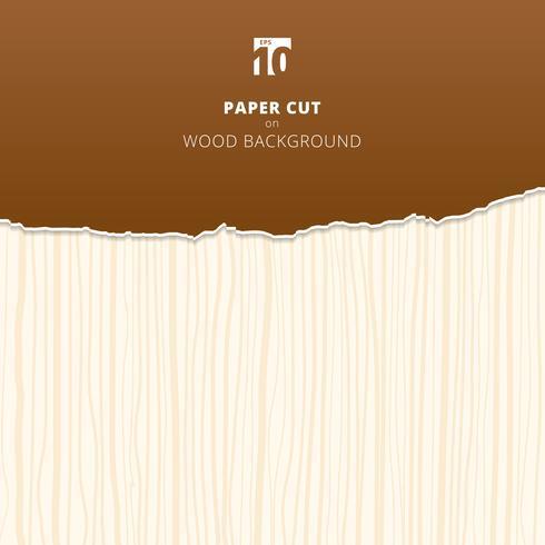 O papel de Brown cortou no fundo e na textura de madeira. vetor