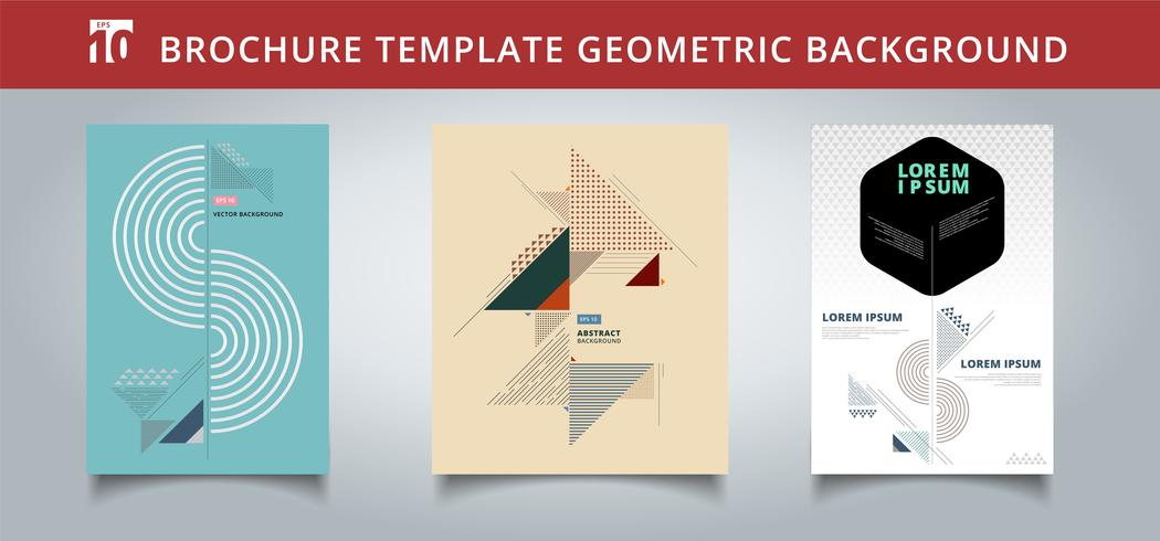 Definir o modelo de design de capas geométricas. Você pode usar para impressão, anúncio, brochura, folheto, panfleto, cartaz, revista, banner, site. vetor