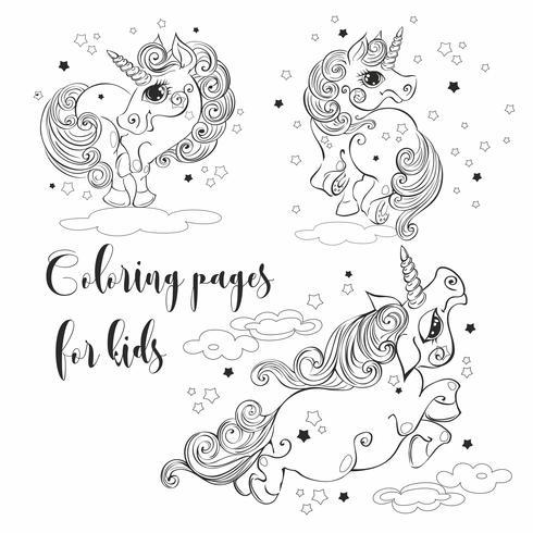 Unicórnios mágicos para colorir. Para as crianças. Ilustrações vetoriais. vetor