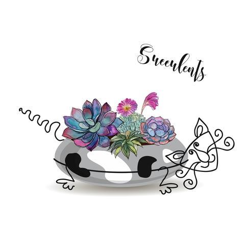 Composição decorativa de suculentas. Em um vaso de flores na forma de um gato manchado. Aquarela de gráficos. Vetor. vetor
