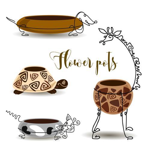 Vasos de flores decorativas. Gato e cão da tartaruga do girafa. Panelas de barro com forjamento. Vetor. vetor