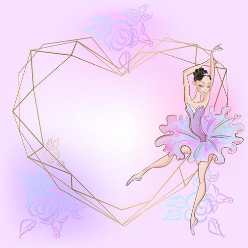 Coração de quadro com bailarina. Rosa. Ilustração vetorial vetor