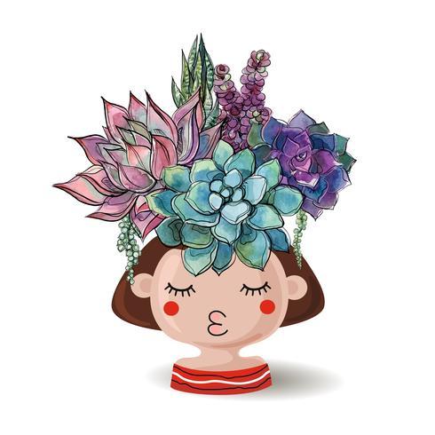 Menina com suculentas flores. Aquarela Ilustrações vetoriais. vetor