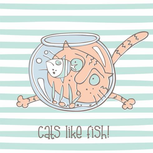 Gato bonito com aquário e peixe. Ilustração vetorial vetor