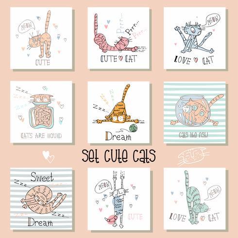 Conjunto de gatos engraçados em um estilo bonito. Ilustração vetorial vetor