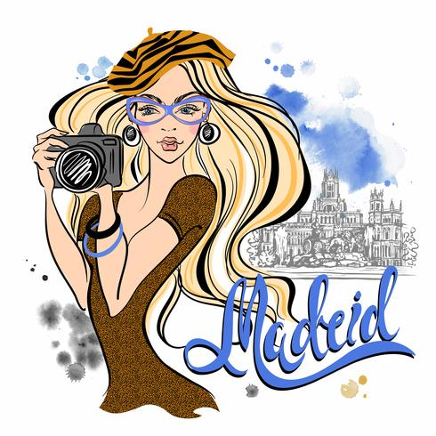Garota de turista na Espanha. Madri. Fotografa as vistas. Vetor. Viagem vetor