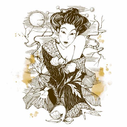 Menina japonesa com uma flor. Gráficos. Lua. Vetor