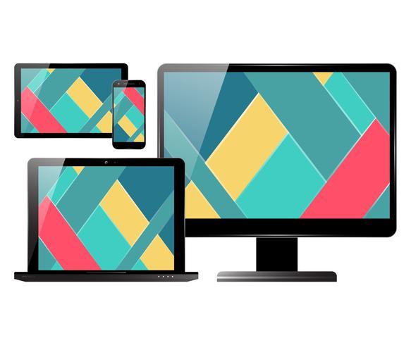 Conjunto de tablet laptop monitor smartphone vetor
