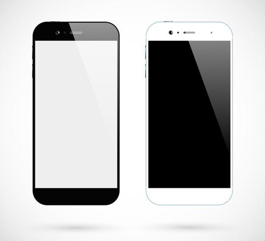 Smartphone isolado. Opinião dianteira preto e branco de Smartphones. Conjunto de telefone celular vetor