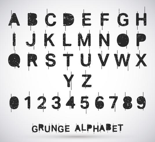 Fonte de grunge do alfabeto vetor