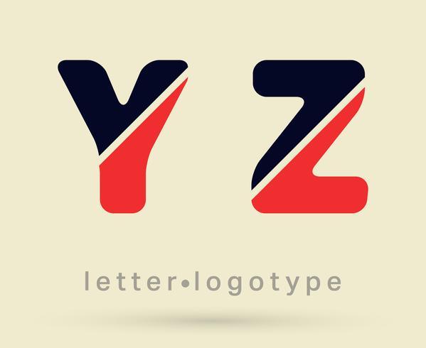 Modelo de fonte do alfabeto. Conjunto de letras Y, Z vetor