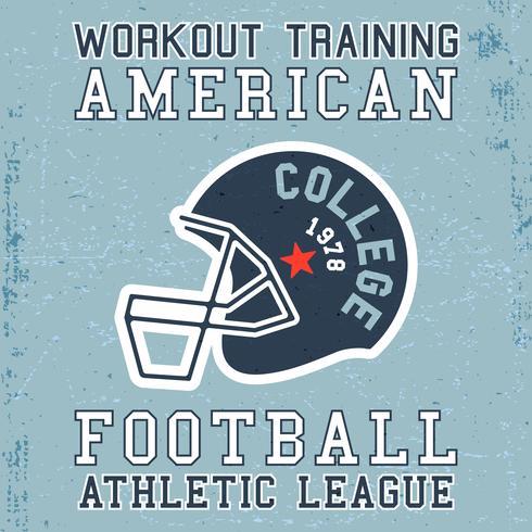 T-shirt design de impressão. Poster vintage de capacete de futebol americano vetor