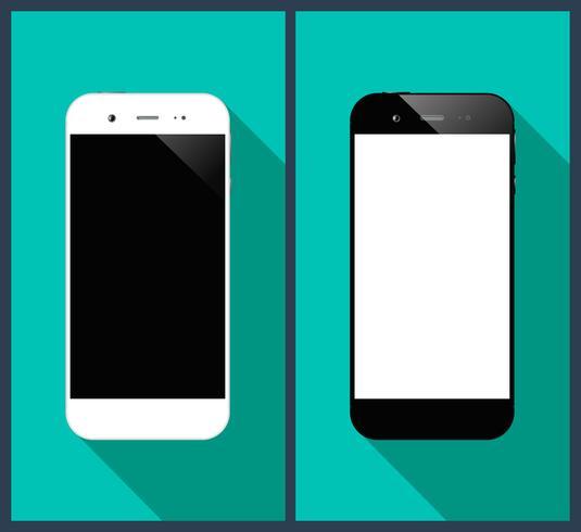 Smartphones longa sombra vetor