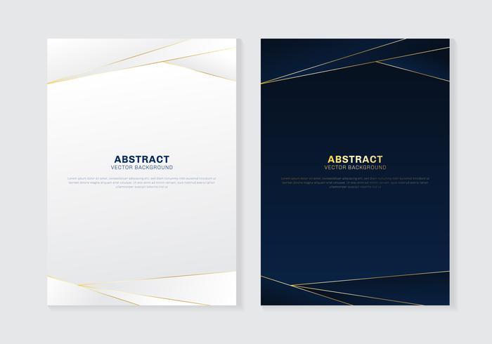 Cubra o cabeçalho de modelo de folheto e o estilo de luxo padrão poligonal de rodapés em fundo azul e branco escuro com linhas douradas. Você pode usar para papel timbrado, cartaz, banner web, impressão, folheto, flyer, etc. vetor