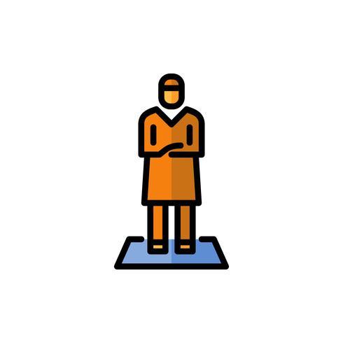 ícone de contorno de preenchimento de oração homem muçulmano. ramadan kareem vetor