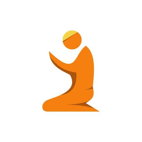 Ícone plana oração muçulmana. Ramadan kareem vetor