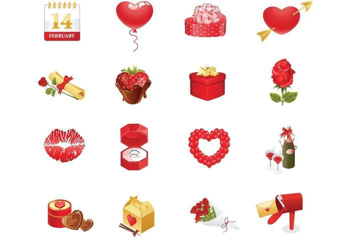 Pacote de ícones do vetor de dia dos namorados